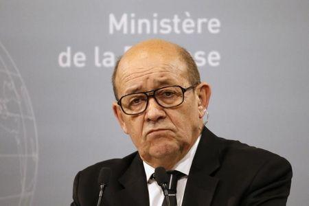 French Defence Minister Jean-Yves Le Drian reacts during a news conference at the French Defence Ministry in Paris