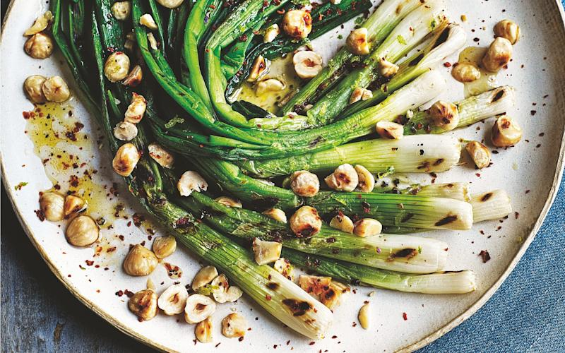 Sweet, charred spring onions and crunchy hazelnuts - Kris Kirkham