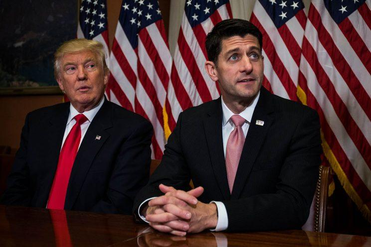 President-elect Donald Trump meets with House Speaker Paul Ryan (R-WI) at the U.S. Capitol for a meeting Nov. 10, 2016 in Washington, DC. (Photo: Zach Gibson/Getty Images)