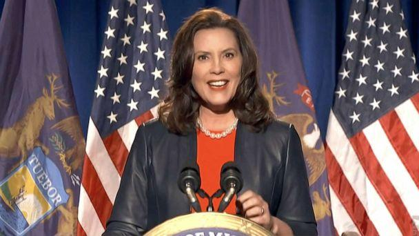 PHOTO: Michigan Gov. Gretchen Whitmer addresses the virtual Democratic National Convention, Aug. 17, 2020. (Democratic National Committee via Getty Images)