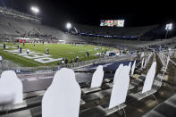 Cutout fans line the south stands before an NCAA college football game between Penn State and Ohio State in State College, Pa., Saturday, Oct. 31, 2020. (AP Photo/Barry Reeger)