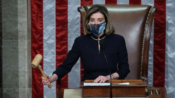 PHOTO: Speaker of the House Nancy Pelosi raps her gavel after the House voted to impeach President Donald Trump for the second time in little over a year in the House Chamber of the U.S. Capitol, Jan. 13, 2021, in Washington, DC. (Chip Somodevilla/Getty Images)