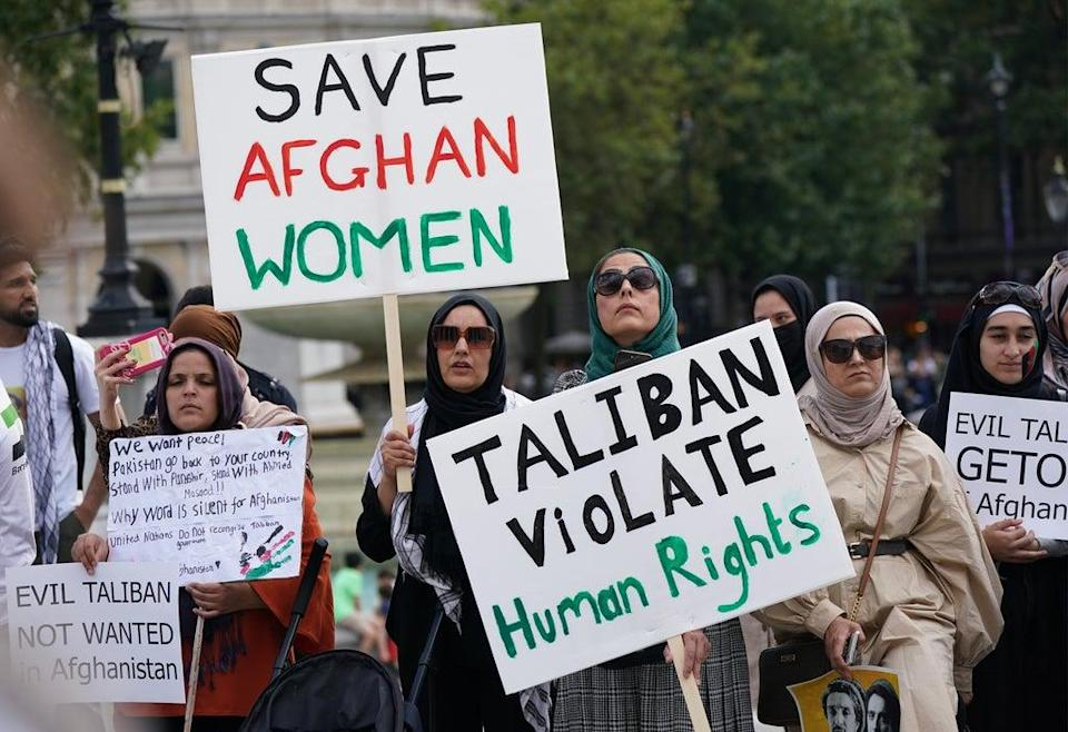 People at an Afghanistan solidarity rally in Trafalgar Square (Yui Mok/PA) (PA Wire)