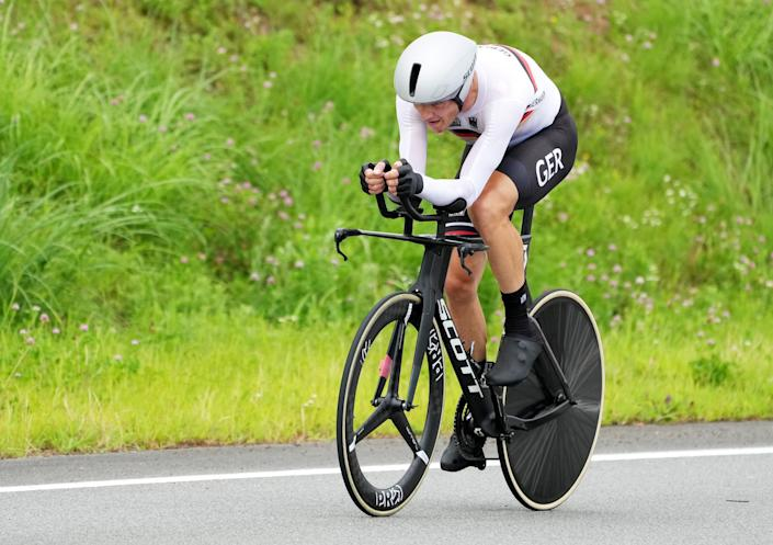 Nikias Arndt of Germany competes in the Men's Road Cycling Time Trial at the Tokyo 2020 Olympic Games at the Fuji International Speedway in Oyama, Japan (EPA)