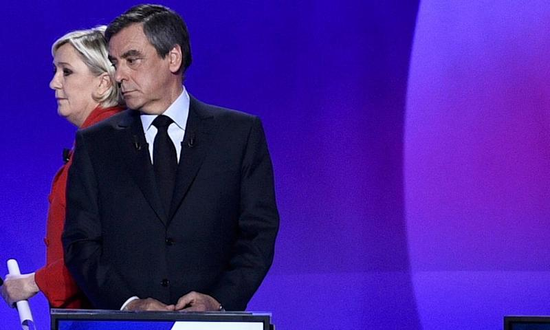 Marine Le Pen and François Fillon on the France 2 programme, during which the news of the attack emerged.