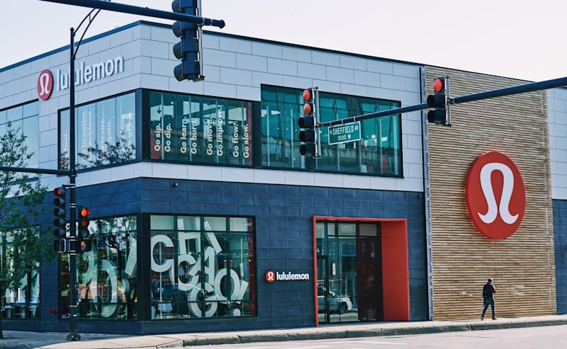 The exterior of a two story Lululemon store