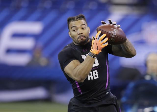 LSU running back Derrius Guice was considered the second best running back in the 2018 draft, but fell to the second round. (AP)