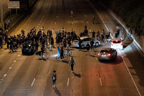 PHOTO: Protesters block Interstate 5 after marching from the area known as the Capitol Hill Organized Protest (CHOP) on June 24, 2020 in Seattle. (David Ryder/Getty Images, FILE)