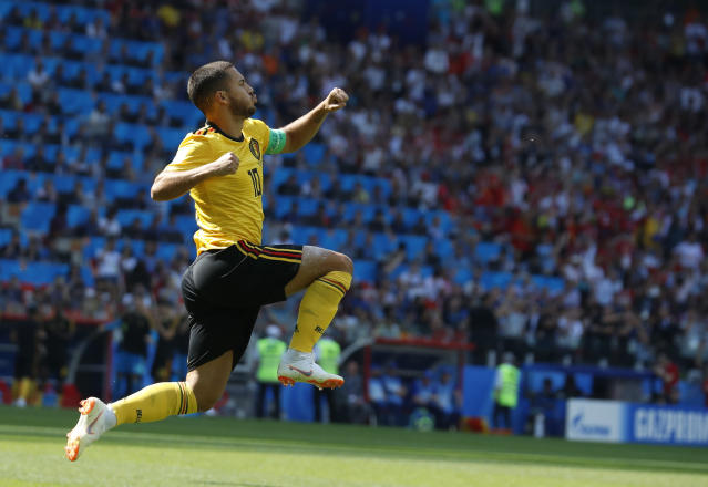 Belgium's Eden Hazard celebrates after scoring their side's first goal during the group G match between Belgium and Tunisia at the 2018 soccer World Cup in the Spartak Stadium in Moscow, Russia, Saturday, June 23, 2018. (AP Photo/Hassan Ammar)