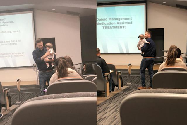 Professor Daniel Fred of the University of Nevada carries a student's baby while he gives a lecture. (Photo: Twitter/brianna_arvizo)