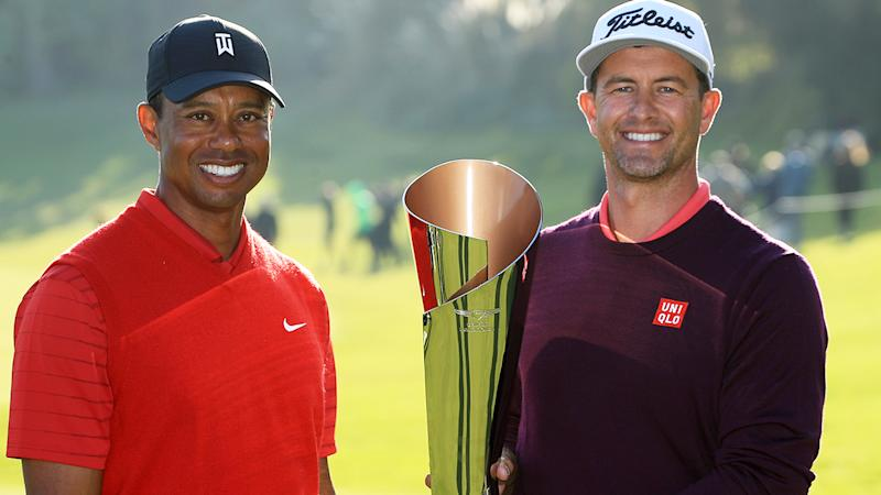 Adam Scott, pictured here holding the trophy with tournament host Tiger Woods.