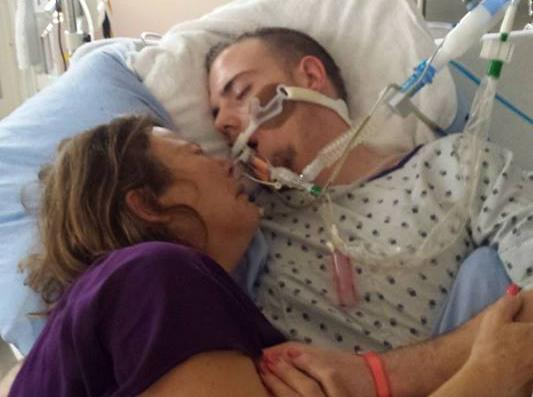 Sherri Kent shared this photo of her and her dying son to warn about the dangers of drug abuse. Photo from Facebook.
