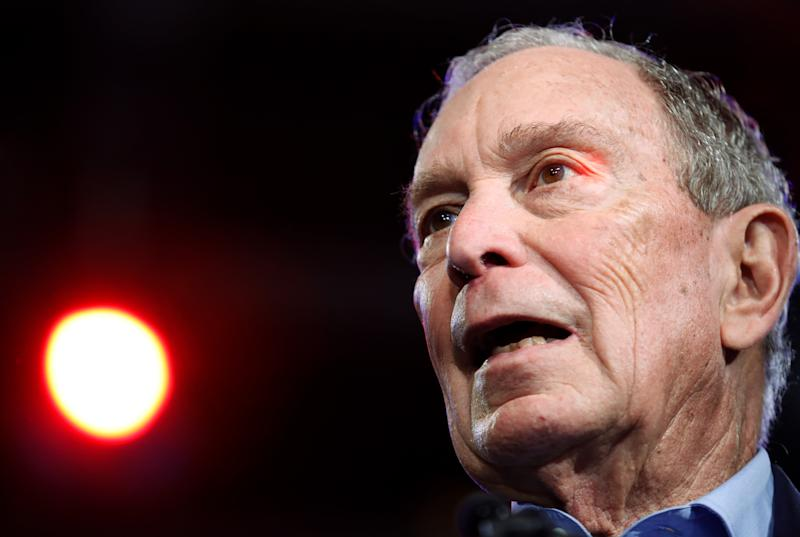 Michael Bloomberg speaks at his Super Tuesday night rally in West Palm Beach, Florida, U.S., March 3, 2020. (Marco Bello/Reuters)