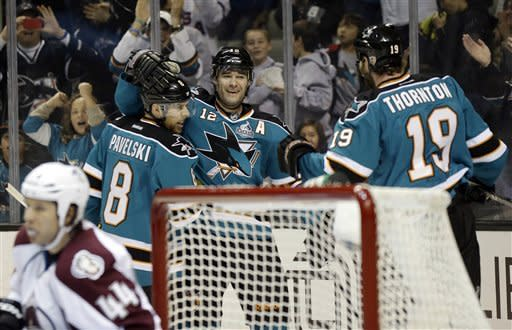 Marleau leads Sharks past Avalanche 4-0