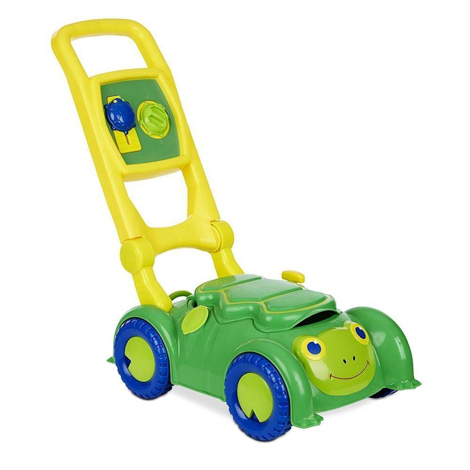 """<p><strong>Melissa & Doug</strong></p><p>walmart.com</p><p><strong>$21.99</strong></p><p><a href=""""https://go.redirectingat.com?id=74968X1596630&url=https%3A%2F%2Fwww.walmart.com%2Fip%2F52029159&sref=https%3A%2F%2Fwww.bestproducts.com%2Fparenting%2Fkids%2Fg37090434%2Fkids-toy-lawn-mowers%2F"""" rel=""""nofollow noopener"""" target=""""_blank"""" data-ylk=""""slk:Shop Now"""" class=""""link rapid-noclick-resp"""">Shop Now</a></p><p>There's a greater than average chance you're going to eventually find a week-old sippy cup in the cubby of this toy mower, but your kid will adore it, and what's one more stomach-churning discovery in parenthood? </p><p>The Snappy Turtle mower by Melissa & Doug has a pull start, a bevy of knobs to turn, and that fun cubby I mentioned. It's a great low-tech option. </p>"""