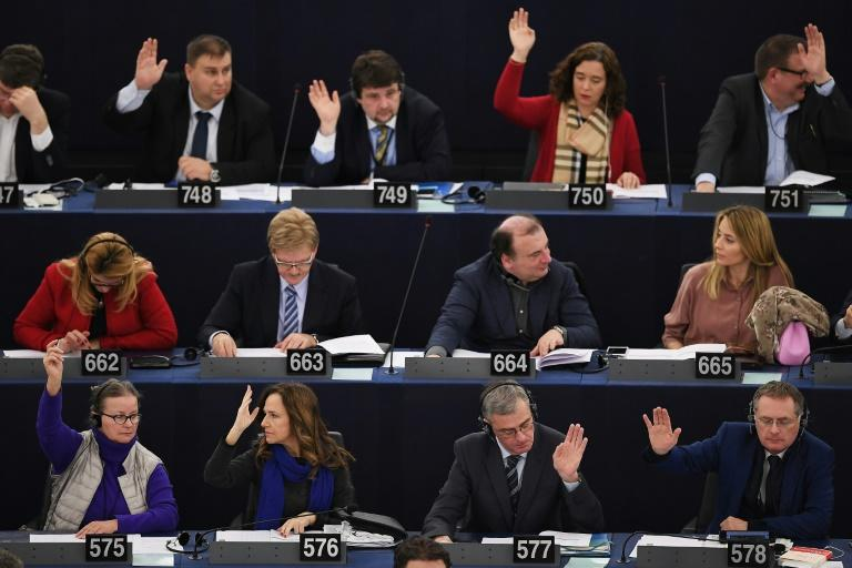 Members of the European Parliament, pictured here taking part in a voting session on February 6, 2018 in Strasbourg, denounced the hundreds of arrests by the Turkish government