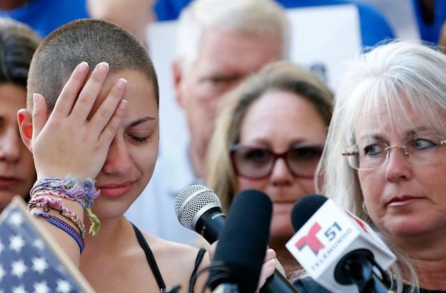 <p>Marjory Stoneman Douglas High School student Emma Gonzalez reacts during her speech at a rally for gun control at the Broward County Federal Courthouse in Fort Lauderdale, Fla., on Feb. 17, 2018. (Photo: Rhona Wise/AFP/Getty Images) </p>