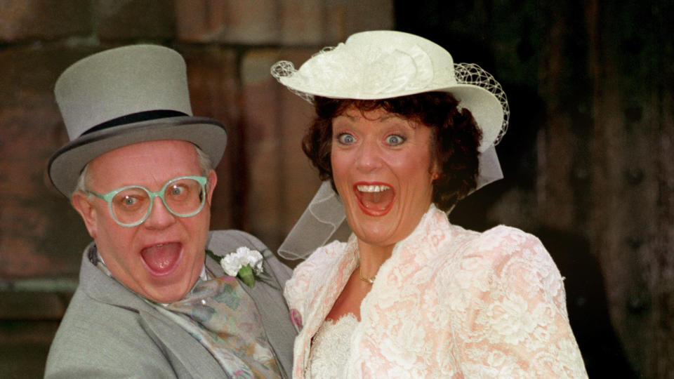 Sherrie Hewson had a spell on 'Coronation Street' in the 1990s, in which her character married Reg Holdsworth, played by Ken Morley. (Malcolm Croft/PA Images via Getty Images)