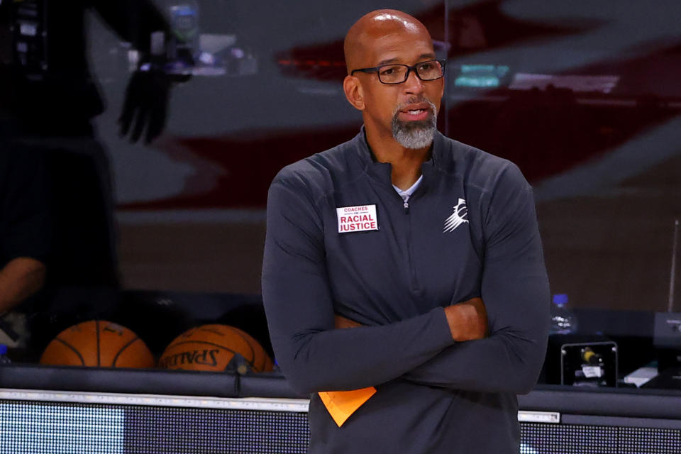 LAKE BUENA VISTA, FLORIDA - AUGUST 04: Head Coach Monty Williams of the Phoenix Suns looks on during the game against the LA Clippers at The Arena at ESPN Wide World Of Sports Complex on August 04, 2020 in Lake Buena Vista, Florida. NOTE TO USER: User expressly acknowledges and agrees that, by downloading and or using this photograph, User is consenting to the terms and conditions of the Getty Images License Agreement.  (Photo by Kevin C. Cox/Getty Images)