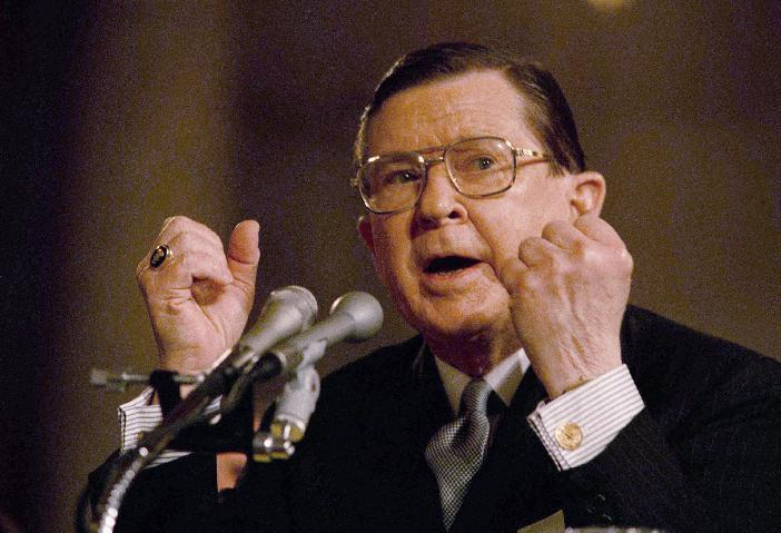 FILE - In this Jan. 25, 1989, file photo, Defense Secretary-designate John Tower of Texas testifies before the Senate Armed Service Committee in Washington, at his confirmation hearing. In 1989, former President Richard Nixon said unless a nominee is clearly unqualified, the Senate should respect the right of a president to fill his Cabinet. Nixon's words came during the bitter fight over President George H.W. Bush's choice of Tower for the Pentagon post. The Democratic-led Senate rejected him. Now, President Barack Obama's choice of Republican Chuck Hagel to be defense secretary will be a test for Senate Republicans, including those who fought strenuously for Tower. (AP Photo/John Duricka, File)