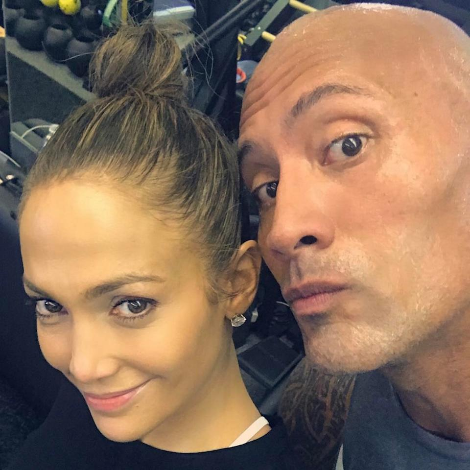 """<p>What gym do J.Lo and Dwayne """"the Rock"""" Johnson go to? We should sign up too, but it must be tough — and expensive! """"Just a couple of gym rats gettin' it in!!"""" she captioned it. """"@therock thanks for the love and for all the positive energy and inspiration you put out into the world!! #hardworkwins #youcantstopwhatwontstop #erryday."""" (Photo: <a rel=""""nofollow"""" href=""""https://www.instagram.com/p/BO8CTa0ARG2/?taken-by=jlo Instagram"""">Instagram</a>) </p>"""