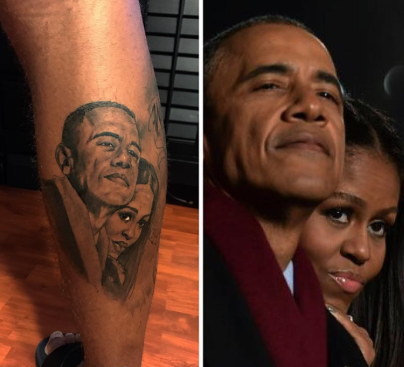 Rishard Matthews got a new tattoo, a portrait of Barack and Michelle Obama. (Matthews Instagram)