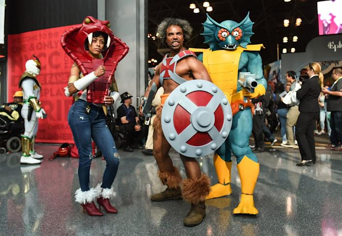 """<div class=""""inline-image__caption""""><p>Cosplayers pose during New York Comic Con 2019 on October 05, 2019 in New York City. </p></div> <div class=""""inline-image__credit"""">DANIEL ZUCHNIK/Getty</div>"""