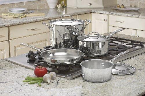 """<p><strong>Cuisinart</strong></p><p>amazon.com</p><p><strong>$56.53</strong></p><p><a href=""""http://www.amazon.com/dp/B00008CM67/?tag=syn-yahoo-20&ascsubtag=%5Bartid%7C2139.g.28569461%5Bsrc%7Cyahoo-us"""" target=""""_blank"""">Shop Now</a></p><p>Perfect for the guy who just needs a few basics, this set is a steal at less than $60. The """"Cool Grip"""" handles won't get scorching hot, and the tapered rims make pouring soups and sauces mess-free. </p>"""