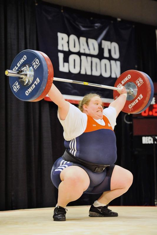 COLUMBUS, OH - MARCH 4: Holley Mangold successfully snatches 110 kilograms during the 2012 U.S. Olympic Team Trials for Women's Weightlifting on March 4, 2012 in Columbus, Ohio. (Photo by Jamie Sabau/Getty Images)