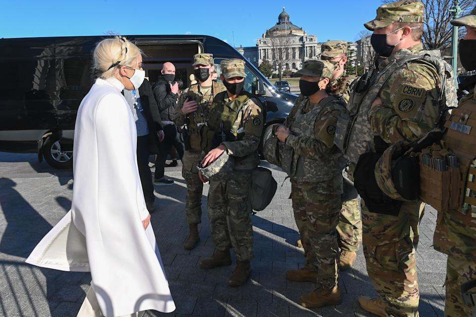 Lady Gaga meeting with National Guard soldiers in Washington DC (Photo: ROBERTO SCHMIDT via Getty Images)