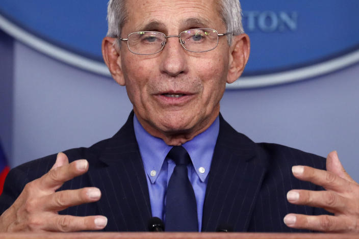Dr. Anthony Fauci, director of the National Institute of Allergy and Infectious Diseases, at a White House coronavirus briefing on April 17. (Alex Brandon/AP)