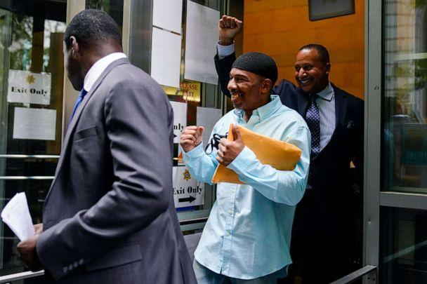 PHOTO: Eric Riddick exits the courthouse in Philadelphia on Friday, May 28, 2021, after spending nearly three decades in prison for a murder he says he did not commit. (Matt Rourke/AP)