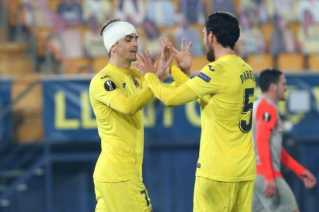 Gerard Moreno (left) scored in both halves as Villareal saw off Red Bull Salzburg