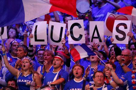 Tennis - Davis Cup Final - France vs Belgium - Stade Pierre Mauroy, Lille, France - November 26, 2017 France fans during the match between France's Lucas Pouille and Belgium's Steve Darcis REUTERS/Pascal Rossignol