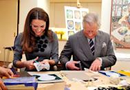 <p>Kate wore this gray Orla Kiely dress when she and her father-in-law Prince Charles made some artwork together at a gallery in London (this was also where the famous Prince-Charles-doesn't-know-how-to-iron incident happened). Adorable.</p>