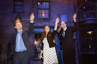 <p>Even Harry, Kate, and William are subject to a corny tourist photo on the Harry Potter Diagon Alley set at Warner Bros. Studios Leavesden. <br></p>