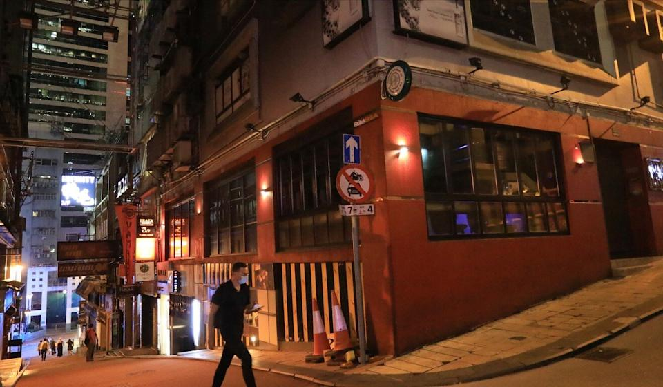 A deserted stretch of Lan Kwai Fong amid the coronavirus pandemic. Photo: May Tse