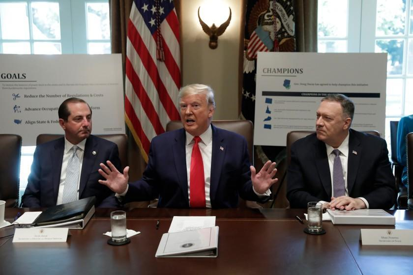 President Trump speaks during a Cabinet Meeting at the White House in Washington on Monday.