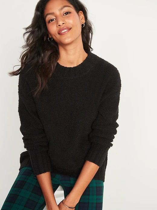 <p>Of course, breezy nights call for a super-soft <span>Old Navy Cozy Oversized Bouclé Crew-Neck Sweater</span> ($21, originally $50) up top (with all colors on sale now).</p>