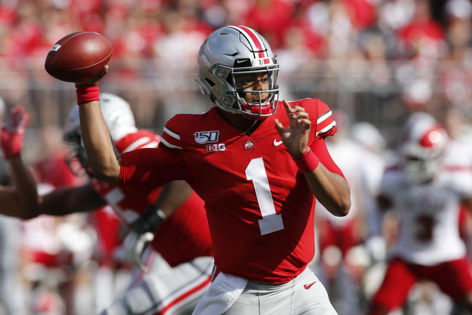 Ohio State quarterback Justin Fields throws a pass against Miami (Ohio) during the first half of an NCAA college football game Saturday, Sept. 21, 2019, in Columbus, Ohio. (AP Photo/Jay LaPrete)