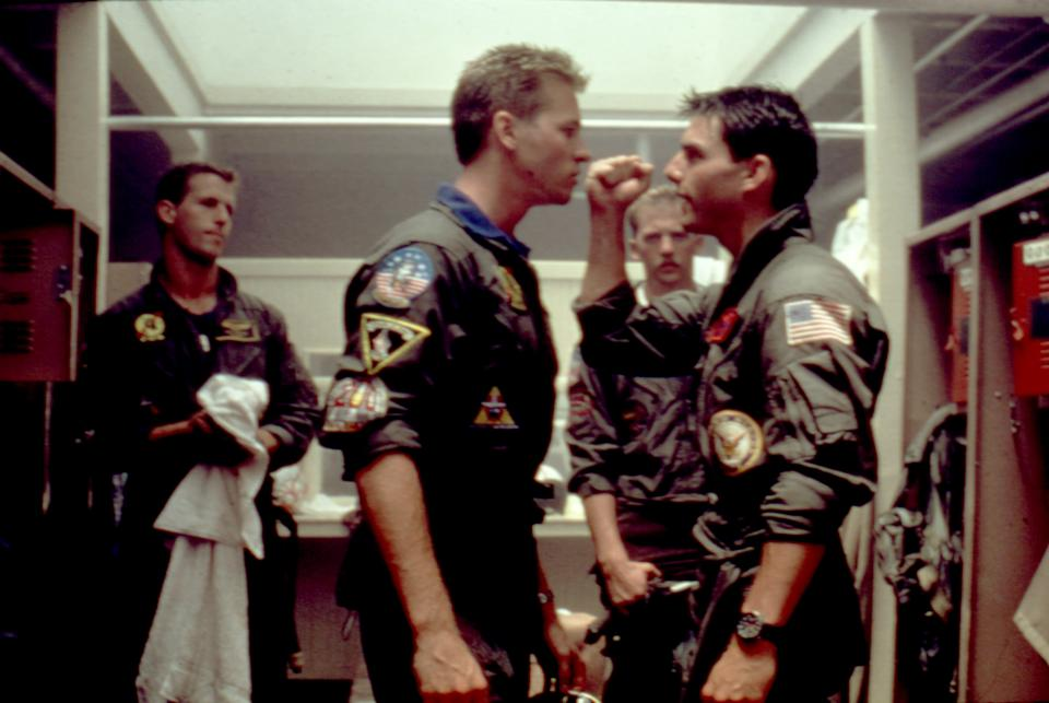 from left to right: Rick Rossovich, Val Kilmer, Edwards and Cruise in a scene from 'Top Gun' (Photo: ©Paramount/Courtesy Everett Collection)