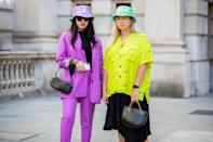 London is known for its edgier street style, so it's no surprise the hair looks were more Kate Moss than Kate Middleton. Think lived-in texture, fun colors, and a plethora of bucket hats.