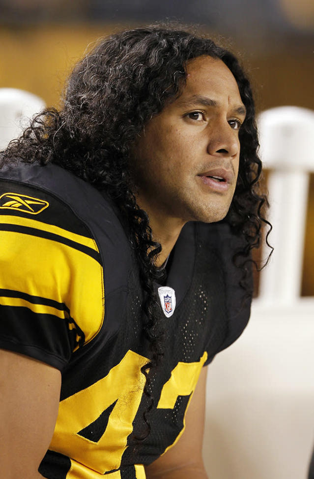 Troy Polamalu #43 of the Pittsburgh Steelers looks on against the New England Patriots at Heinz Field on November 14, 2010 in Pittsburgh, Pennsylvania. The Patriots defeated the Steelers 39-26. (Photo by Joe Robbins/Getty Images)