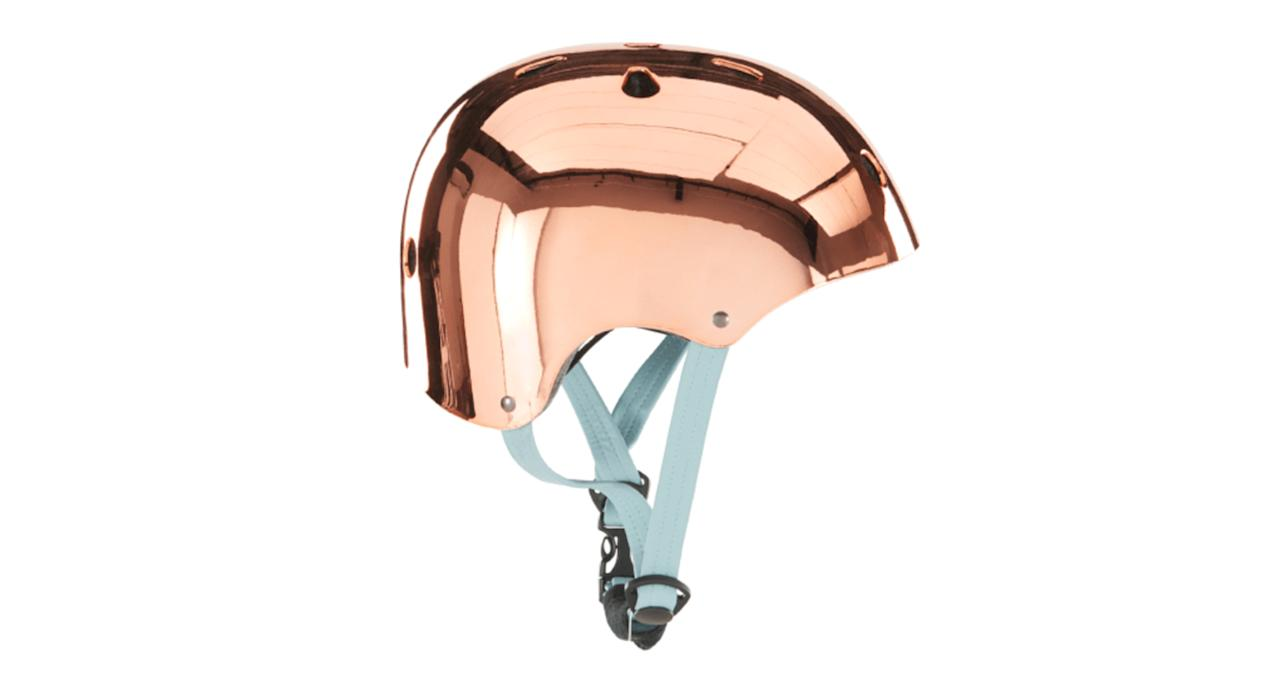 """<p>Whether you cycle regularly or just on the odd occasion, this copper and aqua helmet will certainly make sure you're noticed on the road. <a rel=""""nofollow"""" href=""""https://www.made.com/made-x-bobbin-bike-helmet-copper-with-aqua-strap-2""""><em>Shop now.</em></a> </p>"""