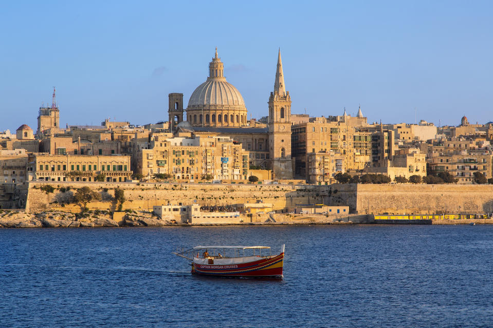 Malta, Valletta, skyline with St. Paul's Anglican Cathedral and Carmelite Church from Sliema,