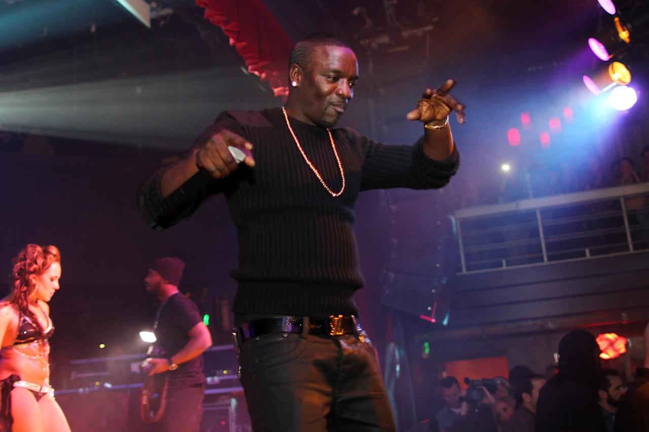 PARK CITY, UT - JANUARY 28:  Akon performs on stage at Park City Live during the 2012 Sundance Film Festival on January 28, 2012 in Park City, Utah.  (Photo by Neilson Barnard/Getty Images for Park City Live)