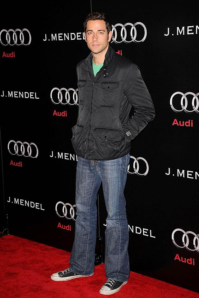 "On the flip side, ""Chuck"" star Zachary Levi looked like he could have been a college students in his casual ensemble. Jason Merritt/<a href=""http://www.gettyimages.com/"" target=""new"">GettyImages.com</a> - January 9, 2011"