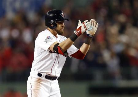 Oct 30, 2013; Boston, MA, USA; Boston Red Sox center fielder Jacoby Ellsbury (2) reacts after hitting a double against the St. Louis Cardinals during the fourth inning of game six of the MLB baseball World Series at Fenway Park. Mandatory Credit: Greg M. Cooper-USA TODAY Sports