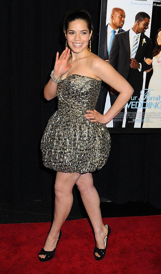 "Across the country in New York, ""Ugly Betty"" beauty America Ferrera strutted her stuff in a vintage Angelo Tarlazzi dress and $900 Christian Louboutin pumps at the premiere of her latest film, ""Our Family Wedding."" Janet Mayer/<a href=""http://www.splashnewsonline.com"" target=""new"">Splash News</a> - March 9, 2010"