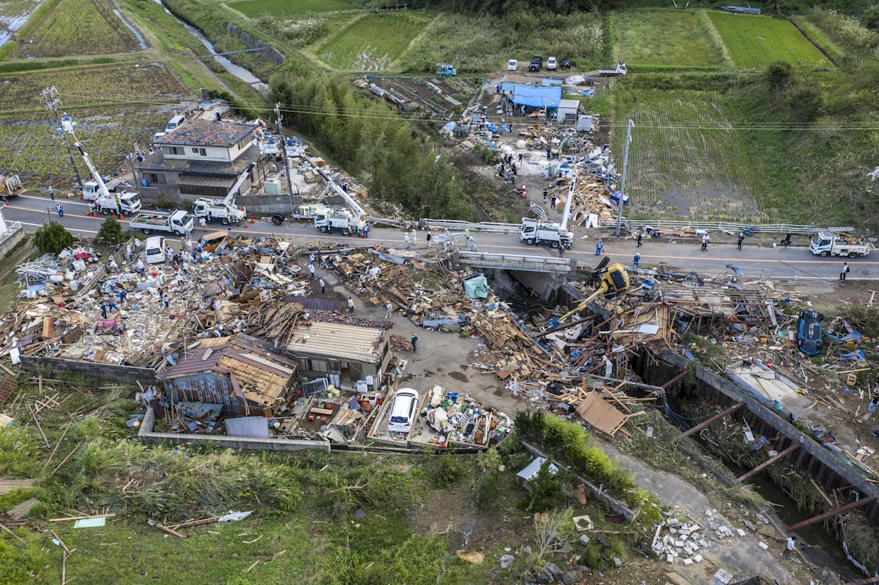 Buildings lie in ruins after they were hit by a tornado shortly before the arrival of Typhoon Hagibis, on Oct. 13, 2019, in Chiba, Japan. (Photo: Carl Court/Getty Images)